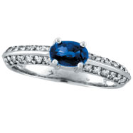 14K White Gold Prong Setting .78ct Sapphire and .38ct Diamond Ring