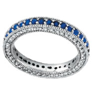 14K White Gold 3-Tier .86ct Sapphire & .60ct Diamond Eternity Band Ring