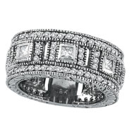 14K White Gold 1.68ct Diamond Multi-Dimensional Eternity Ring Band