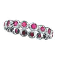 14K White Gold Bezel Set 1.12ct Pink Sapphire Eternity Ring Band