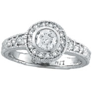 14K White Gold .80ct Diamond Bezel Engagement Ring