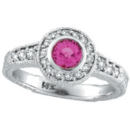 14K White Gold .65ct Pink Sapphire Bezel Ring with .35ct Diamond