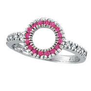 14K White Gold .14ct Diamond & .22ct Pink Sapphire Circle Ring