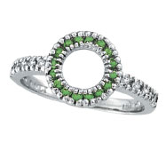 14K White Gold .14ct Diamond & .21ct Tsavorite Circle Ring