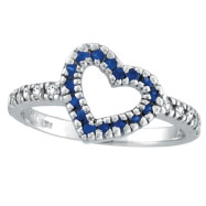 14K White Gold .27ct Sapphire & .19ct Diamond Heart-Shaped Ring