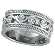 14K White Gold .24ct Antique Rustic Style Diamond Band Ring