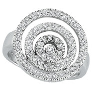 14K White Gold .50ct Diamond Multiple Large Circles Fashion Ring