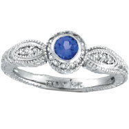 14K White Gold .30ct Tanzanite With .14ct Diamond Bezel Rustic-Style Ring