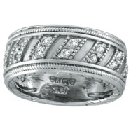 14K White Gold Rustic-Style .53ct Diamond Eternity Band Ring
