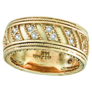 18K Yellow Gold Rustic-Style .53ct Diamond Band Eternity Ring
