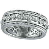 14K White Gold Antique-Style .33ct Diamond Band Eternity Ring