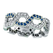 14K White Gold .46ct Sapphire & .34ct Diamond Twisted Open Hexagonal-Shaped Eternity Ring