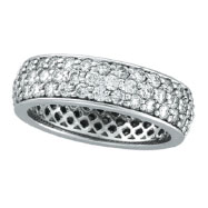 14K White Gold Eternity 2.23ct Pave Diamond Band Ring