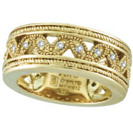 18K Yellow Gold Antique Style .25ct Diamond Band Eternity Ring