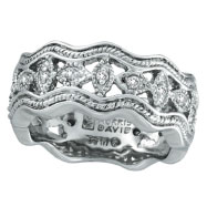 14K White Gold Antique Style .22ct Diamond Zigzag Band Ring