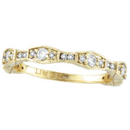 14K Yellow Gold .38ct Diamond Guard Stackable Band Ring