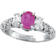 14K White Gold 1.1ct Pink Sapphire .55ct Diamond Antique-Style 3-Tier Engagement Ring