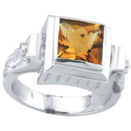 14K White Gold 2.44ct Citrine & .05ct Diamond Antique Style Square Ring