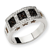 14k White Gold Black & White Diamond Ring