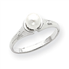 14k White Gold 5mm Pearl Ring