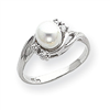 14k White Gold 6mm Pearl A Diamond ring