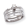 14k White Gold AA Quality Trio Engagement Ring