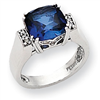 10k White Gold Diamond and Created Sapphire Ring