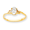 10k Polished Geniune White Topaz Birthstone Ring