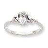 10k White Gold Polished Geniune White Topaz Birthstone Ring
