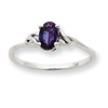 10k White Gold Polished Geniune Rhodolite Garnet Birthstone Ring