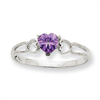 10k White Gold Polished Geniune Amethyst Birthstone Ring