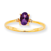 10k Polished Geniune Diamond & Amethyst Birthstone Ring