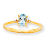 10k Polished Geniune Diamond & Aquamarine Birthstone Ring