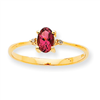 10k Polished Geniune Diamond & Pink Tourmaline Birthstone Ring