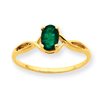 10k Polished Geniune Emerald Birthstone Ring