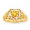 10k Polished Geniune Citrine Birthstone Ring
