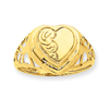 14k 10mm Heart 1/2 Cartouche Embossed Locket Ring