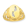 14K 13mm Rhodium Footprints Locket Ring