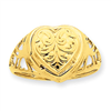 14k 10mm Heart Cartouche Embossed Locket Ring