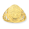 14K 13mm Oval Half Cartouche Locket Ring