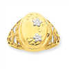 14K 13mm Rhodium Floral Locket Ring