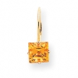 14k 6mm Princess Cut Citrine leverback earring