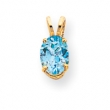 14k 8x6mm Oval Blue Topaz pendant