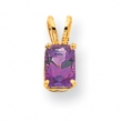 14k 7x5mm Emerald Cut Amethyst pendant