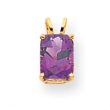 14k 8x6mm Emerald Cut Amethyst pendant