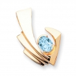 14k 9x7mm Oval Blue Topaz slide