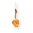 14k 5mm Heart Citrine earring