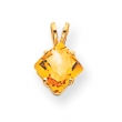 14k 7mm Princess Cut Citrine pendant
