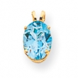 14k 9x7mm Oval Blue Topaz pendant