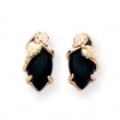 10k Black Hills Gold Onyx Earrings
